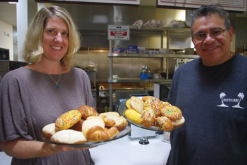 Jen and Mario Anguiano with a sampling of their Pan Dolce at Dos Palmas